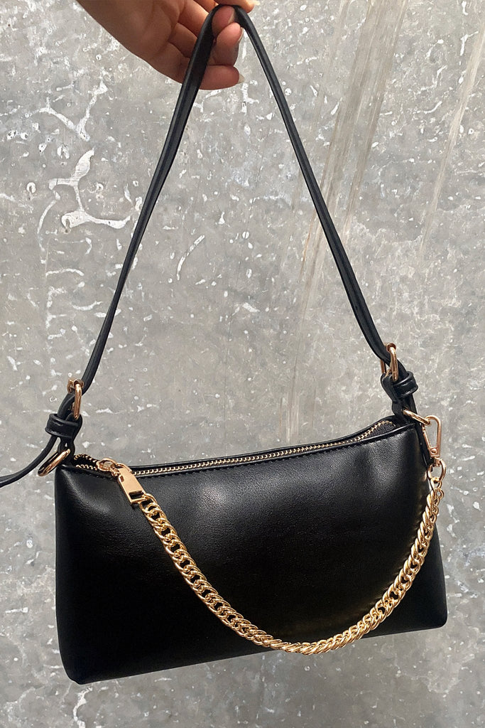 Riley Handbag - Black Leather