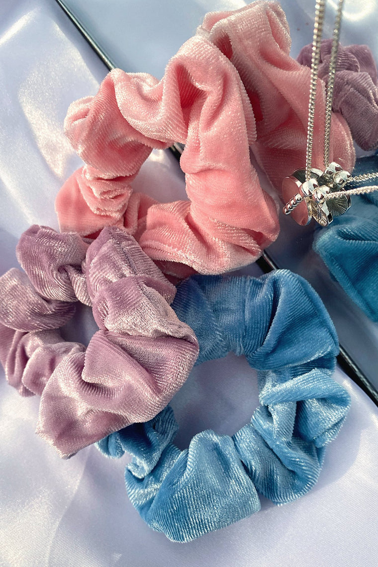 Velvet Scrunchie 3 Pack- Pink/Purple/Blue