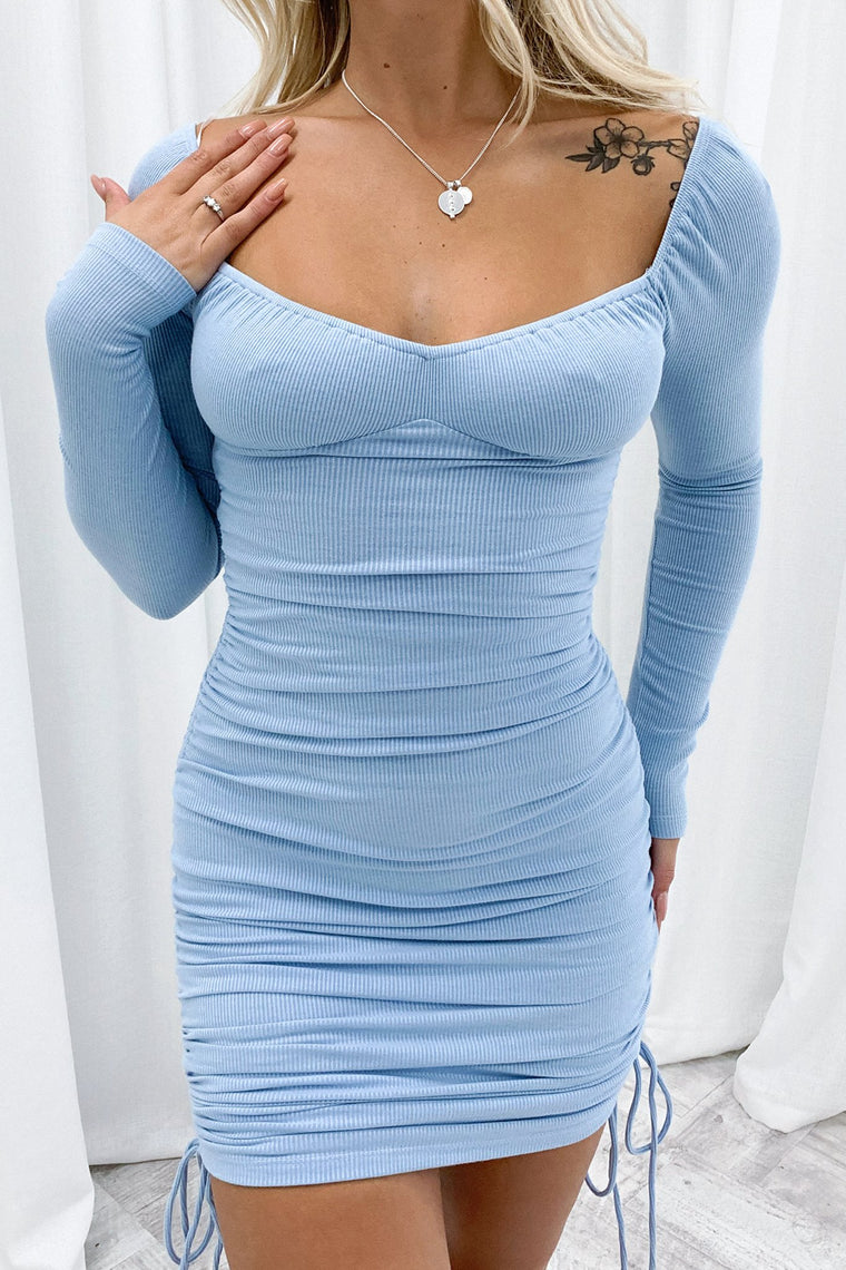 Terri Long Sleeve Dress - Blue