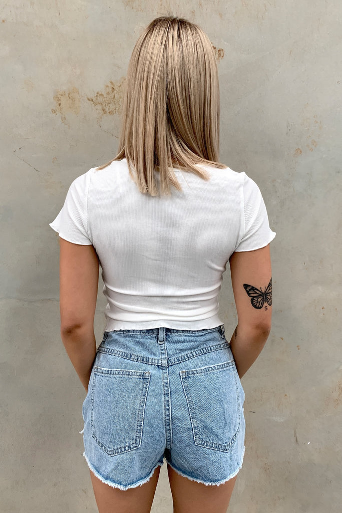 Fable Short Sleeve Crop - White