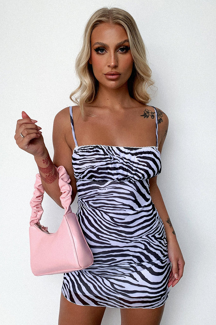 Venti Dress - Black/White Zebra