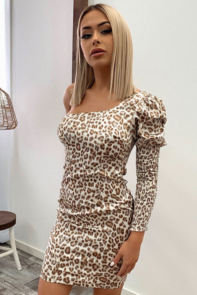Noval One Shoulder Dress - Leopard