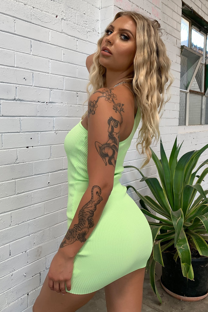Stormi Dress - Neon Green