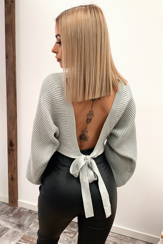Glamour Long Sleeve Knitted Crop - Grey