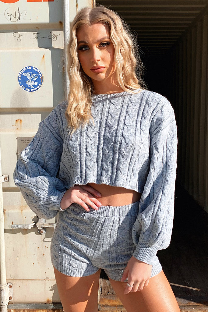 Atlas Cropped Knitted Jumper - Grey
