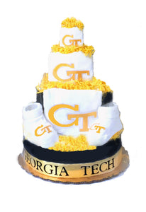 Georgia Tech baby gift diaper cake
