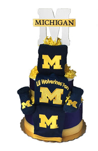 Michigan wolverines baby gift diaper cake