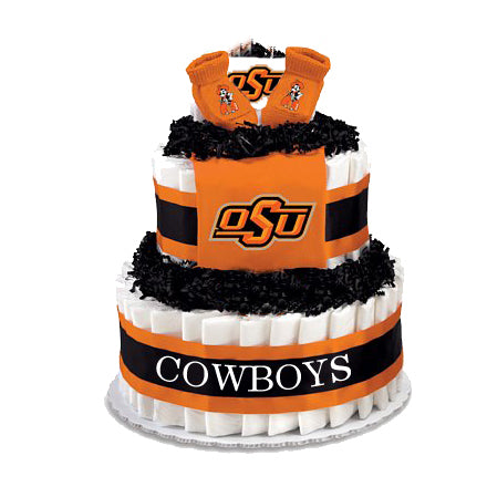Oklahoma State baby gift diaper cake