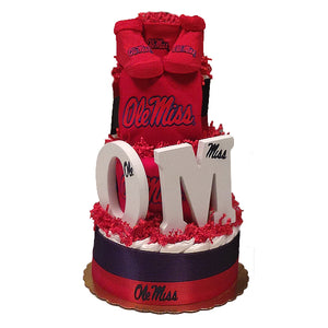 Ole Miss baby diaper cake
