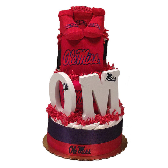 Ole Miss Diaper Cake (Deluxe)