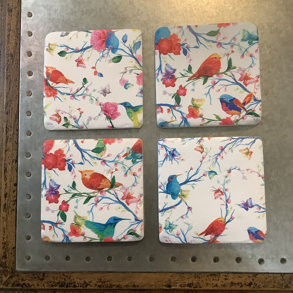 Drinks Coasters Set of 4 (BIRDS & FLOWERS)