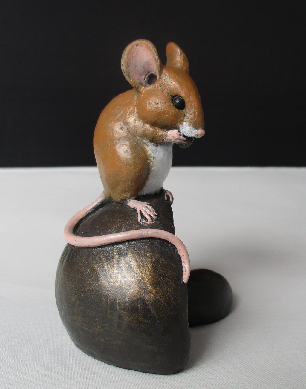 Bronze Resin Mouse on Mushroom