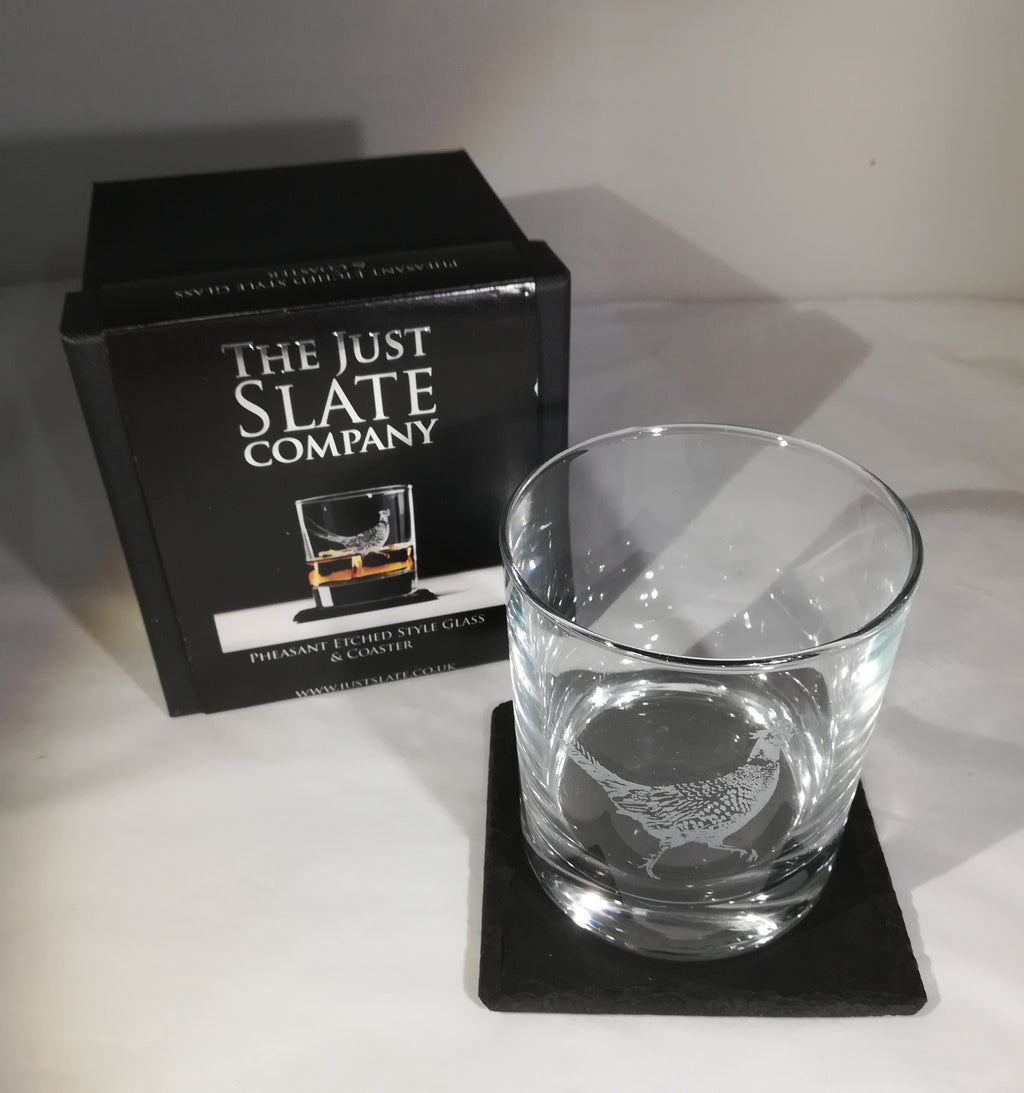 Etched Glass Tumbler with Slate Coaster