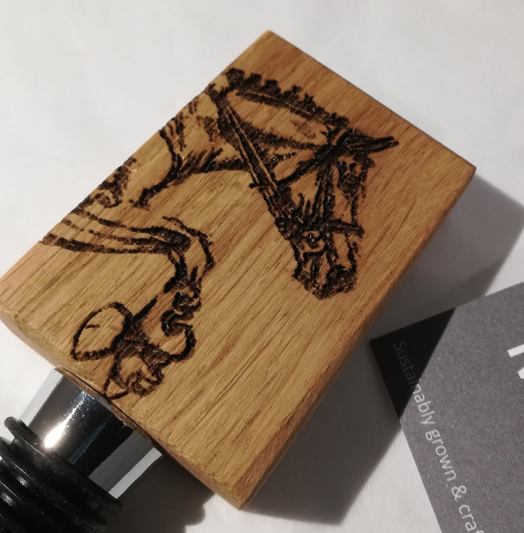 Wine Stopper Etched Oak