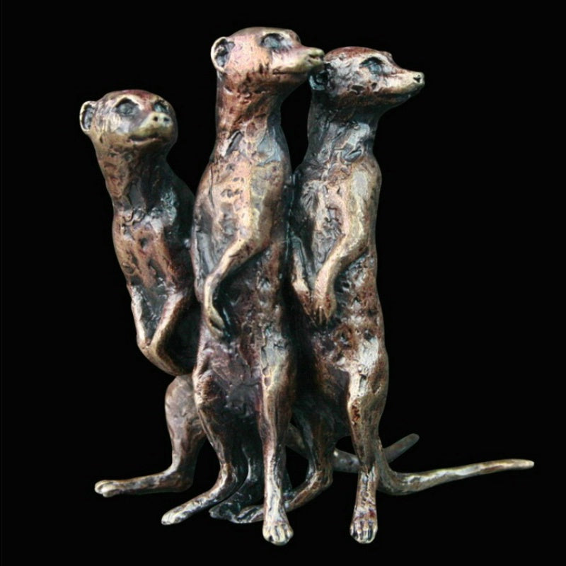 Meercat Group in Fine Bronze (Miniature)
