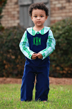 Green Plaid Boys Peter Pan Shirt with Navy Longall
