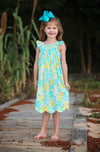 Yellow & Aqua Floral Geo Dress