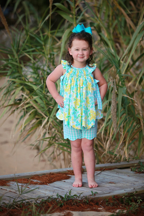 Yellow & Aqua Floral Geo Girls Set