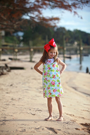 Rose with Dots Scallop Collar Dress