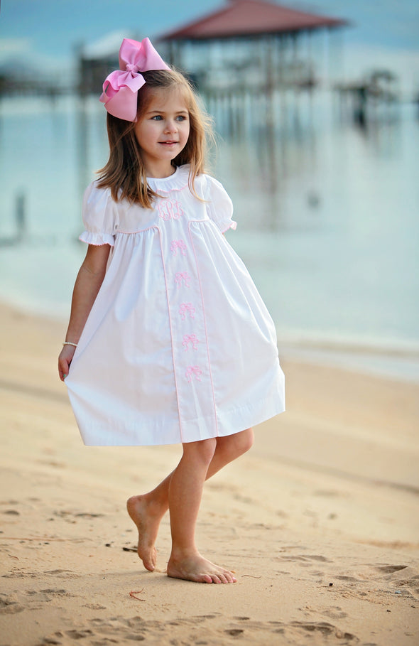 White Dress with Pink Bow Embroidery