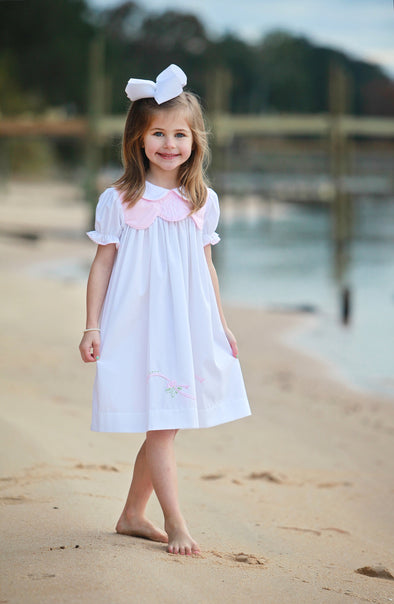 White Dress with Pink Scallop Chest & Ribbon Embroidery