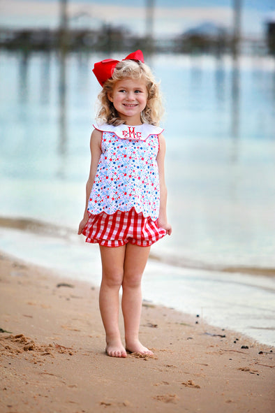 Blue & Red Floral Scallop Girls Bloomer/ Short Set