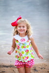 Rose with Dots Scallop Girls Bloomer/ Short Set