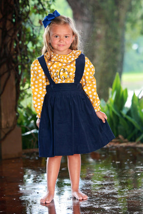 Mustard Dot Girls Suspender Dress