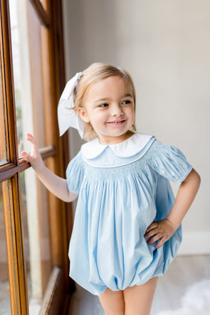 Bessie Blue Geo Smocked Bubble