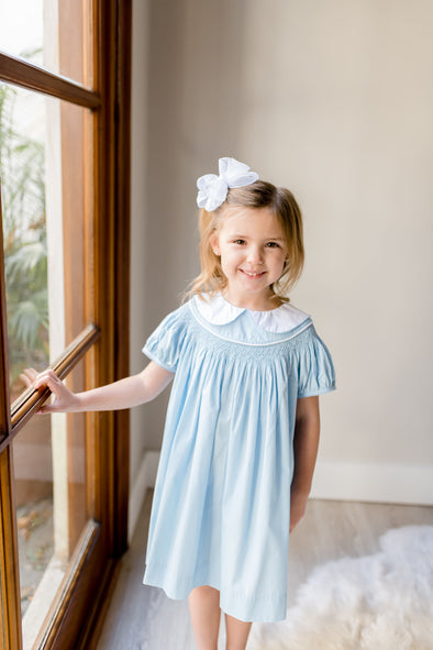 Bessie Blue Geo Smocked Dress