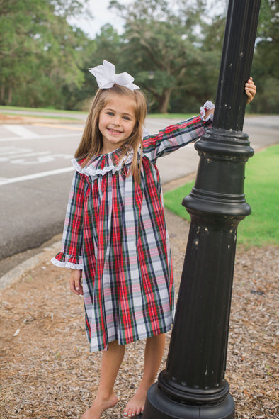 Christmas Plaid Ruffle Neck Dress