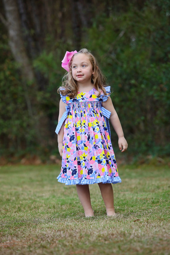 Fancy Floral Geo Smocked Dress