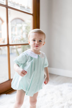Gavin Gingham Pleated Peter Pan Bubble