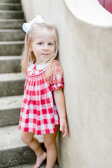 Holly Red Check Geo Bloomer and Shirt Set