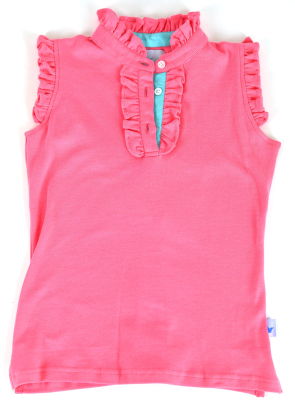 Polly Play Pink Girls Ruffle Polo
