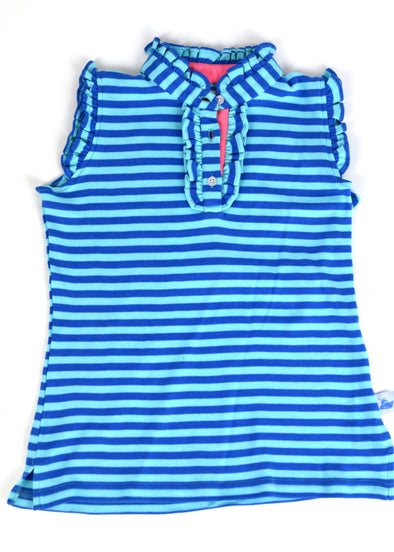 Polly Play Seafoam & Blue Girls Ruffle Polo
