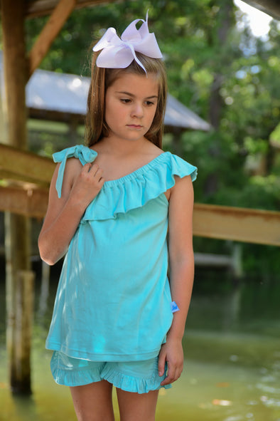 Polly Play Seafoam Ruffle Girls Shirt