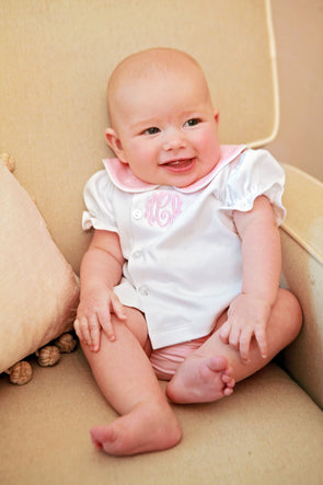Pink and White Knit Plain Girls Diaper Set