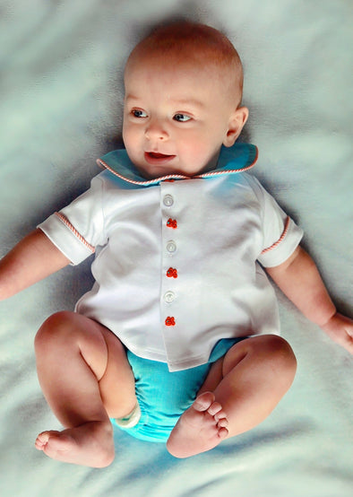 Geo Fish Stitched Baby Boys Infant Diaper Set