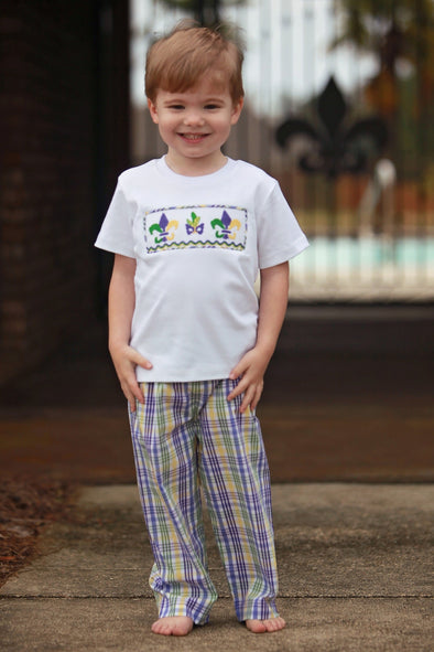 Mardi Gras Boys Smocked Short Sleeve Tee & Pants Set