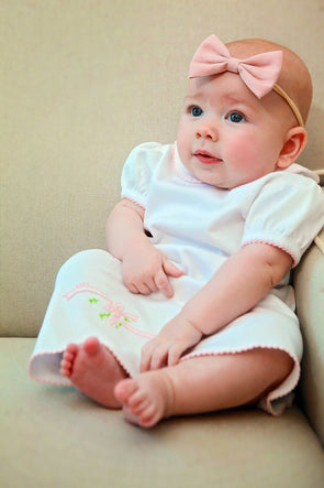 Knit Baby Gown with Pink Ribbon Embroidery