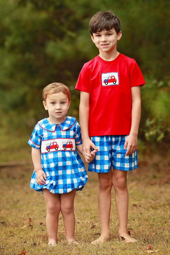 Firetruck Smocked Boys Tee Set