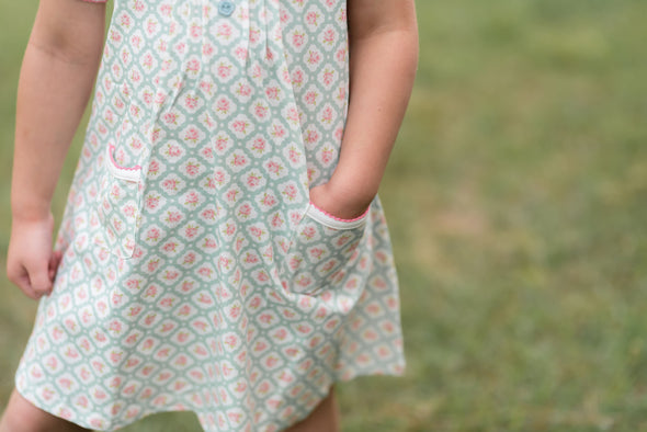 Polly Pocket Aqua Floral Knit Pleated Dress