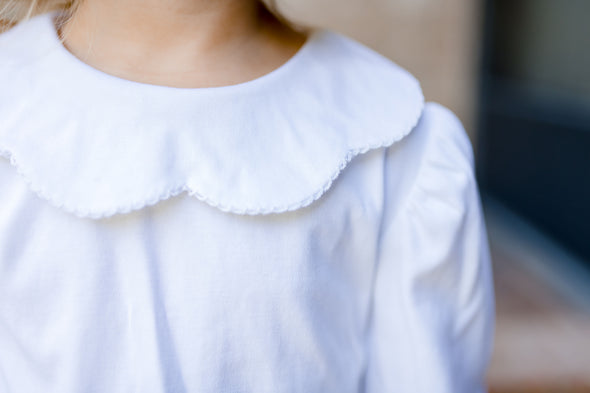 Girls White Knit Scallop Collar Longsleeve Shirt