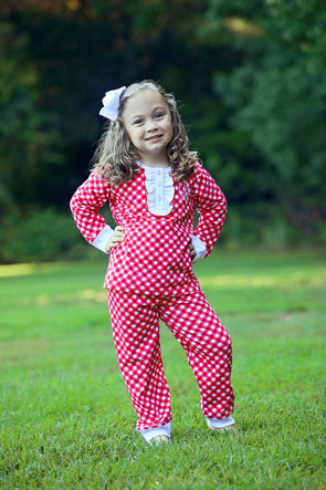 Cute & Comfy Red Check Christmas Morning Girls Set