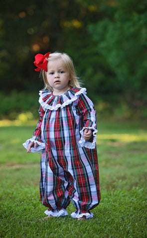 Christmas Plaid Ruffle Neck Bubble