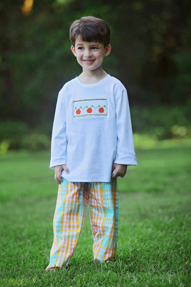 Pumpkin Patch Smocked Boys Tee Set