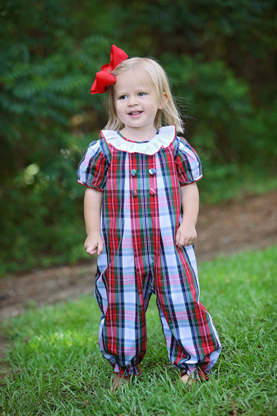 Christmas Plaid Pleated Girls Bubble