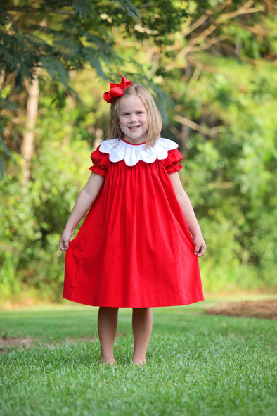 Lady in Red Cord Ruffle Picot Collar Dress