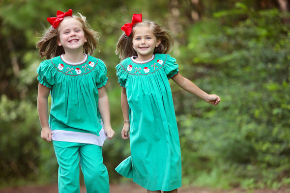 Santa's Very Merry Smocked Girls Set